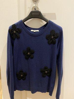 Blauer Woll-Kaschmir-Mix Pulli mit Blumen und Strass Gr. 36