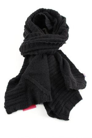 Blauer Wełniany szalik czarny Warkoczowy wzór W stylu casual