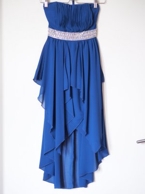 blaues Ballkleid, Vokuhila, mit Schleppe, Strass-Bund, trägerlos, Bandeau, XS, 32/34, nur 1x getragen
