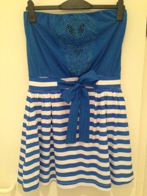 Blaues Bandeau-Kleid mit Streifen von Mango in Größe 38 (M)