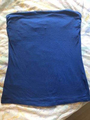 H&M Top z dekoltem typu bandeau niebieski neonowy
