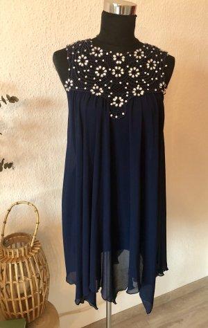 Blaues Chiffon Kleid, XS