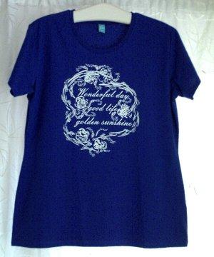 Blaues Damen T-Shirt tailliert weißer Print Gr. L bzw. ca. 44/46