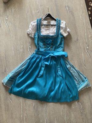 Country Lady Dirndl blauw-lichtblauw