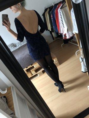 Blaues Glitzerkleid Rückenfrei