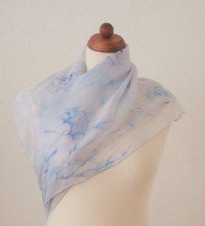 Handarbeit Foulard en soie bleu azur-bleu acier soie