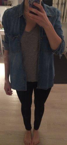 Zara Jeansowa koszula stalowy niebieski-chabrowy
