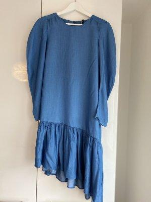 Zara Robe à volants bleu