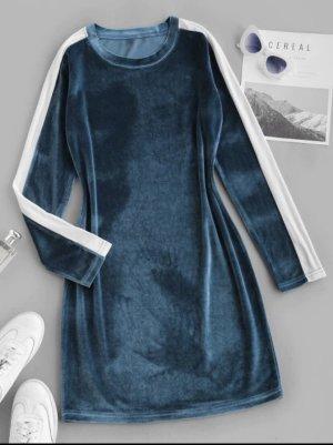 Robe stretch bleu acier-blanc