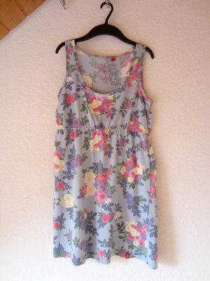 Blaues Kleid mit floralem Print-Muster