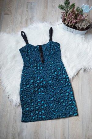 blaues Kleid mit Muster NEU Leomuster Eng Trägerkleid