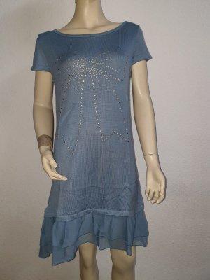 blaues Kleid mit Perlenschleife NEU Gr. 38