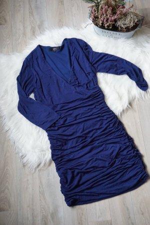 Blaues Kleid Wickeloptik / Dunkelbaues Kleid NEUwertig