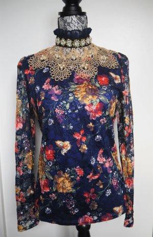 Blaues Langarm-Shirt/Bluse mit Perlen