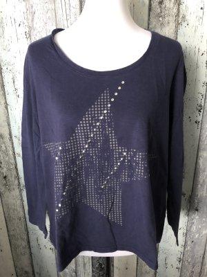 blaues Langarmshirt / Shirt mit Stern und Nieten von Sheego - Gr. 44/46