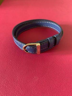 Le Tanneur Lederen armband staalblauw-korenblauw