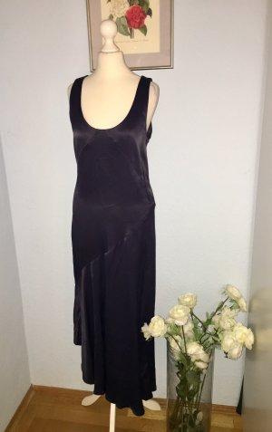 Blaues Maxi-Satin-Kleid aus 100% Viskose