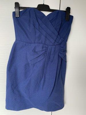 H&M Bandeau Dress blue-dark blue cotton