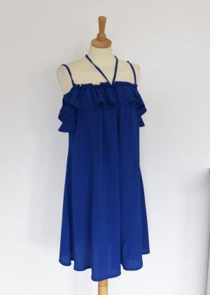 Lost Ink Flounce Dress blue