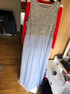 Blaues Perlenkleid Abendkleid Ballkleid