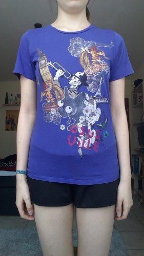 blaues Print-Shirt