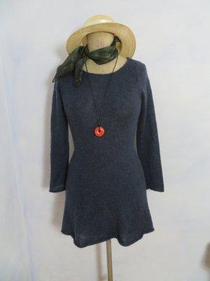 Blaues Pullover Kleid Langarm Long Pulli - Größe S - leicht haarig Strickkleid