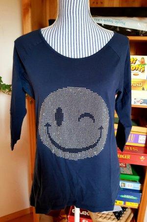 Blaues RICK CARDONA Sweatshirt Glitzer Smiley Gr. 40 L Neuwertig!