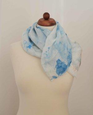 Pañuelo de seda azul neón-blanco Seda