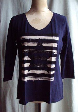 Blaues Shirt mit V-Ausschnitt, Größe L