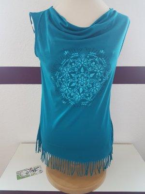 Blaues Shirt Top T-Shirt COLINE Gr. M mit Fransen, Wasserfallausschnitt NEU