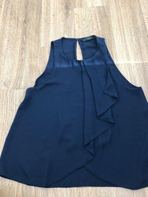 Zara Cowl-Neck Top dark blue