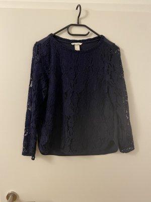 Blusa in merletto blu scuro