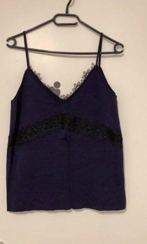 Zara Spaghettibandtopje zwart-donkerblauw