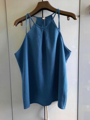 H&M Top z dekoltem typu halter niebieski