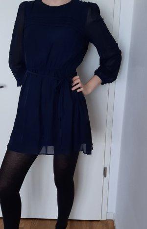 blaues vintage Kleid S Minikleid Langarm navy Marnineblau Chiffon