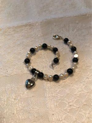 Blaufluss blau & Süßwasser Perlen mit Herzanhänger / Neu