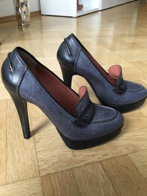Platform Pumps slate-gray-anthracite leather