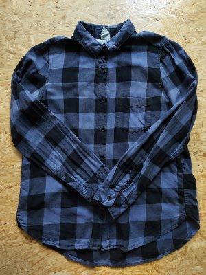 Blaulila-schwarz karierte langärmelige Bluse/Hemd von L.O.G.G.