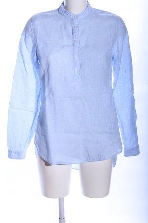 Blaumax Langarm-Bluse blau-weiß Webmuster Business-Look