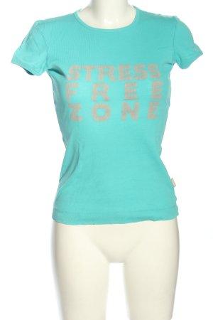 Blaumax T-shirt turchese-grigio chiaro caratteri stampati stile casual