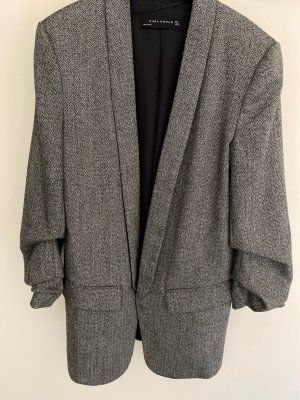Zara Woman Blazer in tweed nero-bianco