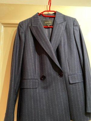 Massimo Dutti Wollen blazer donkerblauw-grijs