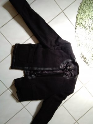 Mango Blazer corto negro Algodón