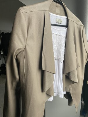 Zara Leather Blazer beige