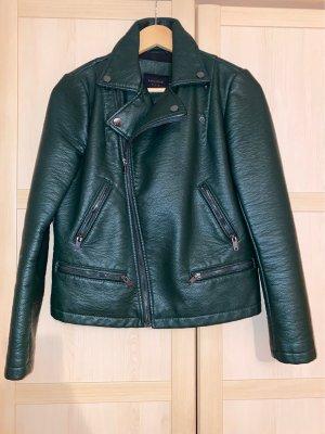 Zara Leather Blazer dark green