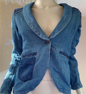 European Culture Blazer en jean bleu acier-bleu azur
