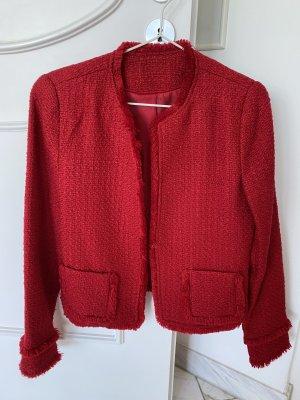 Blazer en tweed rouge framboise