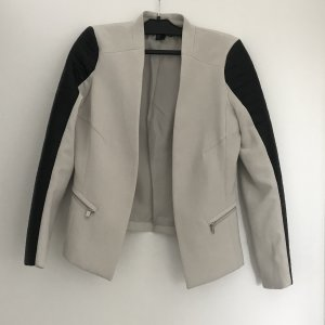 H&M Leren blazer zwart-lichtgrijs