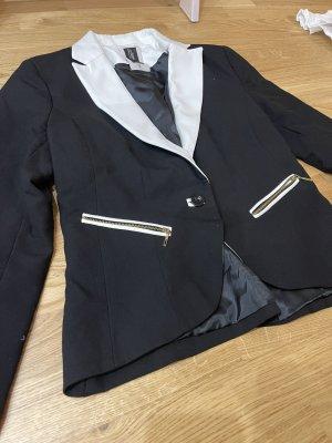 Bershka Jersey blazer zwart-wit