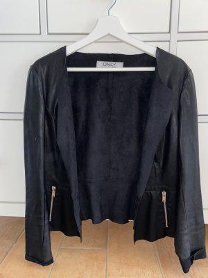 Only Blazer en cuir noir-argenté